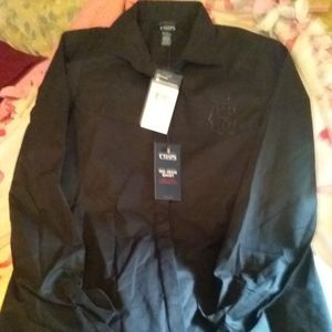 "Black ""Chaps"" petite, button up dress shirt. NWT"